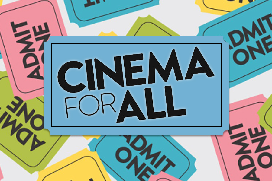 ARTICLE - An edited together image with the Cinema for All Logo and eventbrite banner.