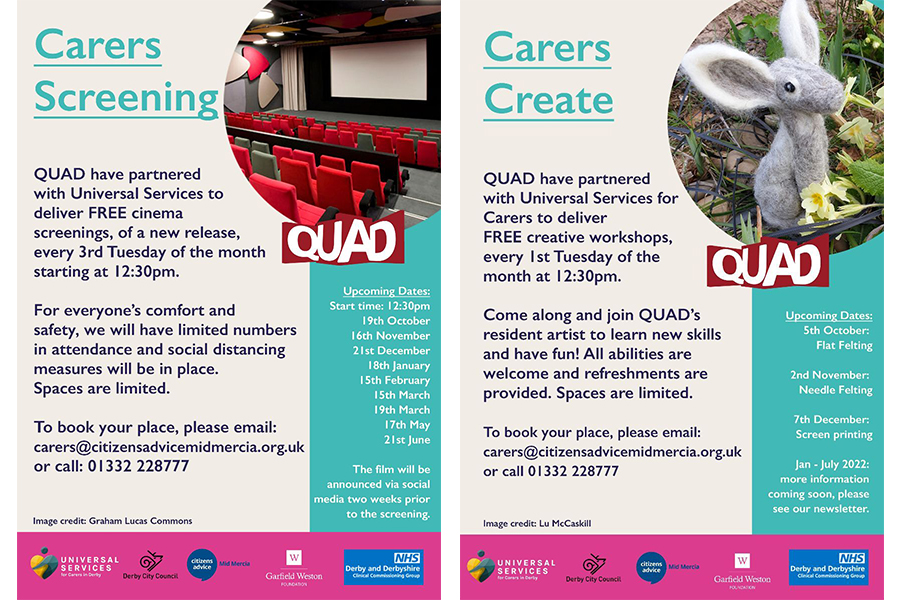 Free Events for Derby City Carers at Quad Derby